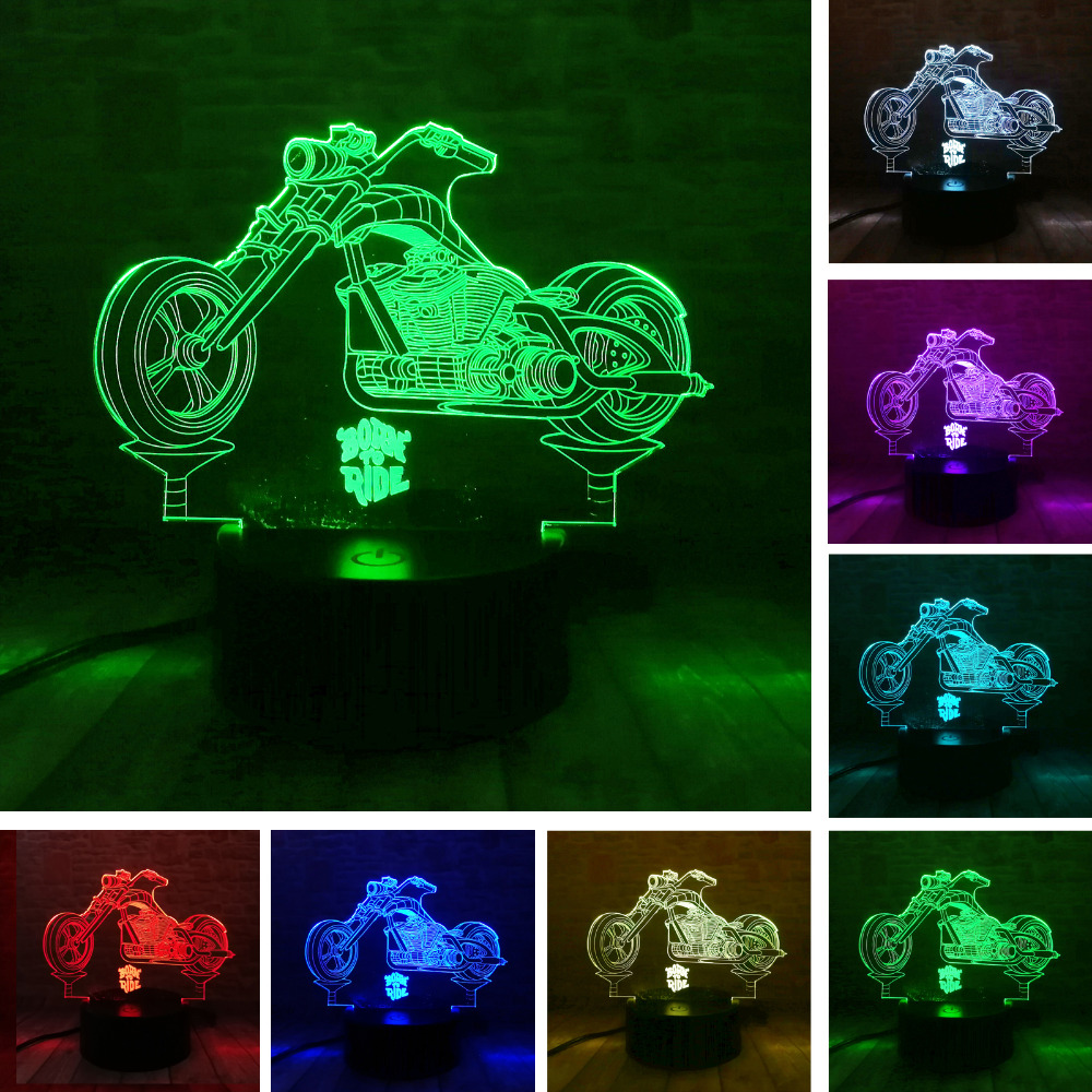 New 3D Cross-country Motorcycle Lamp Colorful USB LED Nightlight Visual Remote Touch Switch 3D Night Light Illusion Bedroom DecoNew 3D Cross-country Motorcycle Lamp Colorful USB LED Nightlight Visual Remote Touch Switch 3D Night Light Illusion Bedroom Deco