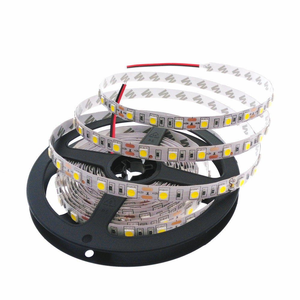 Bande LED 5050 DC 12V Flexible LED Lumière 60 LED / m 5m / lot RGB / blanc / Blanc chaud / Rouge / Vert / Bleu Bande LED 5050