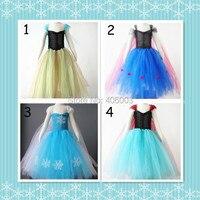 Free Shipping Baby Girls Elsa Anna Fluffy Tulle Handmade Tutu Dress Kids Costume Princess Frozen Party