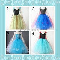 Free Shipping Baby Girls Elsa Anna Fluffy Tulle Handmade Tutu Dress Kids Costume Princess Frozen Party