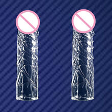 Newest male penis extension sleeve reusable condoms for men realistic penis extender sleeve head to penis