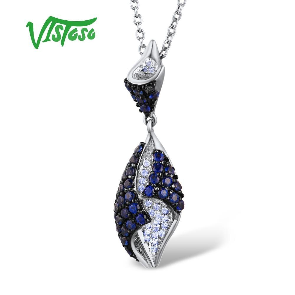 VISTOSO Gold Pendant For Women Genuine 14K 585 Rose White Gold Sparkling Diamond Blue Sapphire Delicate Wedding Fine Jewelry