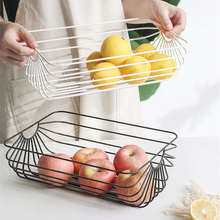 Nordic Rose Gold Metal Basket Graceful Scandinavian Desktop Book Storage Chic Fruit Bread Organizer Frame