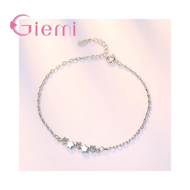 GIEMI Minimalist 5 Star Girls Bracelet Top-End 925 Sterling Silver Hand Chain Female Engagement Jewelry Zircon Bangle