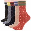 RioRiva 5pairs/Pack US5-9/EU35-40 Women Colorfull With Dot Short Mid Calf Crew Women's Socks Minutenes Cotton Ankle Sox