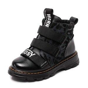 Image 3 - Winter Jungen Stiefel Kinder Schuhe Neue Junge Echtem Leder Mode Martin Stiefel Student Turnschuhe Plus Samt Warme Kinder Schnee Stiefel