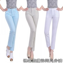 free shipping summer spring women s fluid elastic ankle length trousers female high waist casual plus
