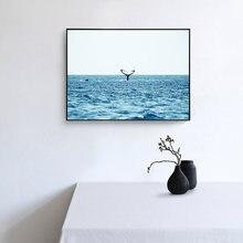 Океан волна стена искусство пейзаж Картина на холсте черные