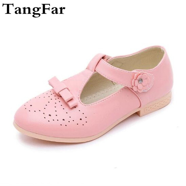 Girls PU Leather Small Bow Moccasins Pink White Princess Mary Jane Sneakers  For Student Performance Shoe e439455053ec