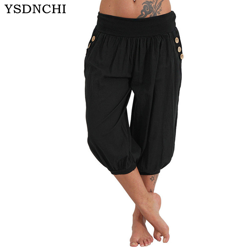 YSDNCHI2018 New Summer Women Solid Casual Loose   Pants   Low Waist Wide Leg   Pants     Capri     Pants   Bloomers with Belt Button Decor   Pants
