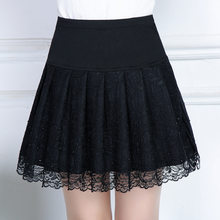 Spring Hot Diamond Lace Skirts Bottom A-Line Skirt Pleated Jacquard Hollow Female High Waist Femme Autumn Short Skirts MZ2892(China)