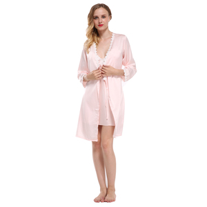 Image 5 - Fiklyc merk volledige mouw sexy vrouwen robe & gown sets kant bloemen satijn vrouwen pyjama sets nachthemd + badjas homewear hot