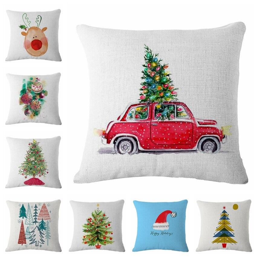Noël voiture cloche Housse De Coussin tissé lin famille Affection canapé famille maison décorative jeter taie d'oreiller Housse De Coussin