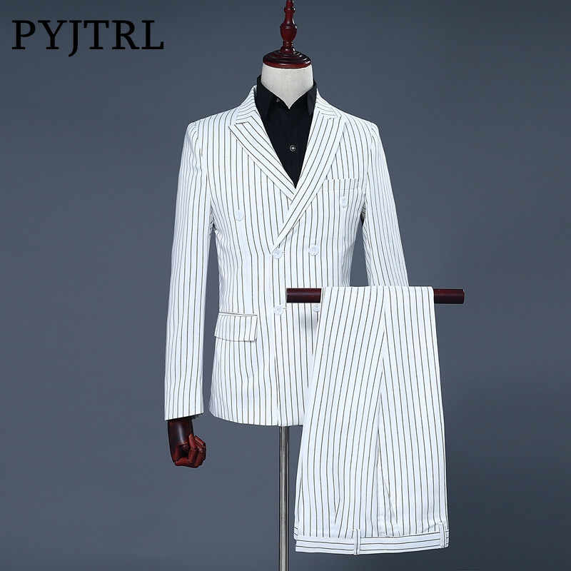 PYJTRL Brand Men's Two Piece Set White Stripe Dress Suits Wedding Suits For Men Tuxedo Gentle Modern Blazer Men Suits
