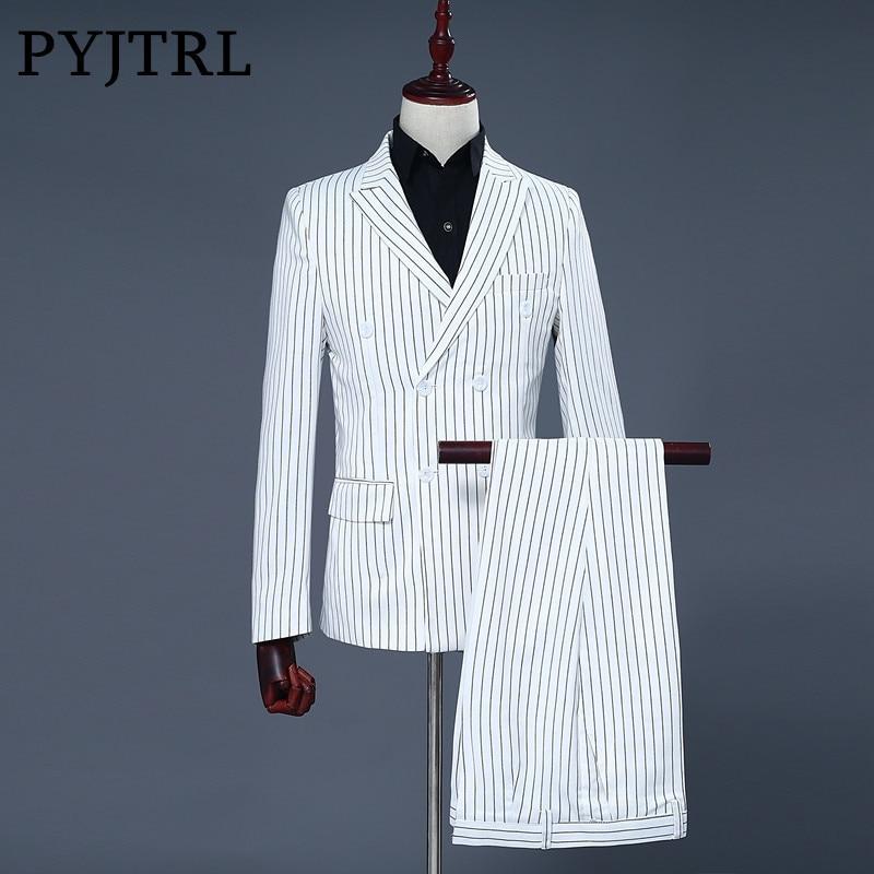 PYJTRL Brand Mens Two Piece Set White Stripe Dress Suits Wedding Suits For Men Tuxedo Gentle Modern Blazer Men Suits