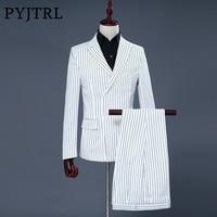 PYJTRL Brand Men S Two Piece Set White Stripe Dress Suits Wedding Suits For Men Tuxedo