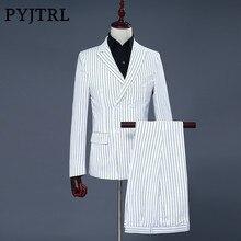 PYJTRL marka męska dwuczęściowy zestaw biała sukienka w paski garnitury garnitury ślubne dla mężczyzn smoking delikatne nowoczesne Blazer garnitury męskie