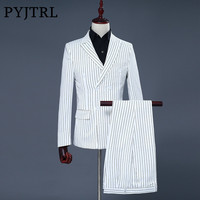 PYJTRL Brand Men S Two Piece Set White Stripe Dress Suits Wedding Suits For Men Tuxedo