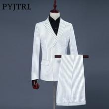 Pyjtrl бренд Для мужчин из двух частей набор белой полосой Юбочные костюмы для женщин Нарядные Костюмы для свадьбы для Для мужчин смокинг нежный современный пиджак Для мужчин Костюмы