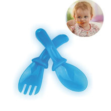 New 4 Pairs Infant Baby Feeding Spoon Fork Set High Quality PP Baby Spoon Flatware Lovely Gifts For Baby Kids Learning Tableware(China)