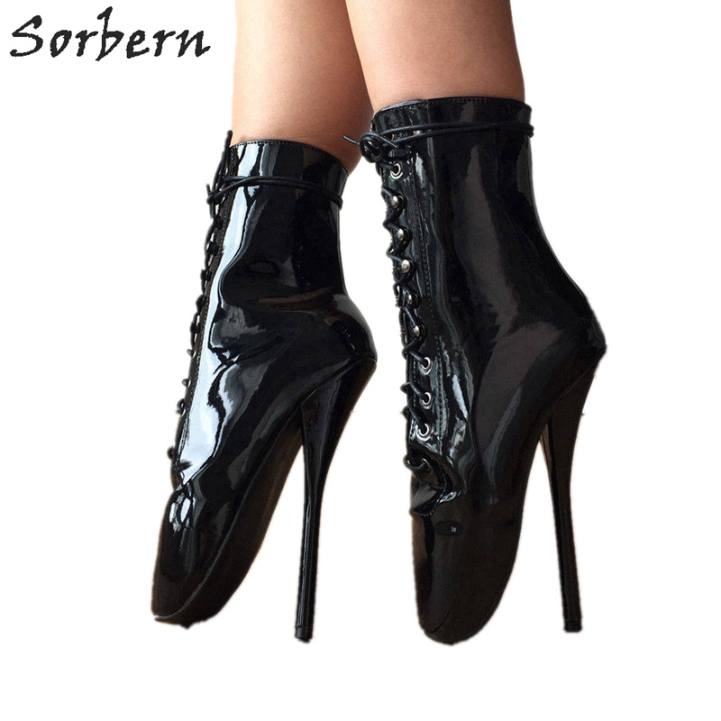 Sorbern Womens Ballet Boot Unisex Custom Color Sexy Fetish Shoes 7 Inch Heels Black Patent Boots Ankle Strap Bedroom Accessories