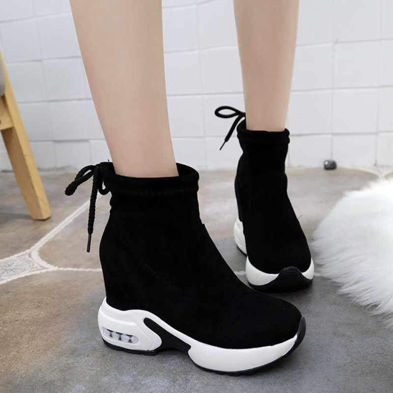 COOTELILI Moda Artan Ayakkabı Kadınlar Yüksek Topuklu yarım çizmeler Kadınlar Için Sonbahar Kış lastik çizmeler Kadın Pompaları Bayanlar 35-39