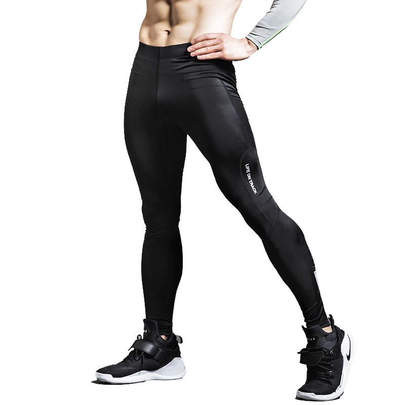Life on Track Men Compression Pants Black Color with Reflective Strips MMA Crossfit Exercise Tight