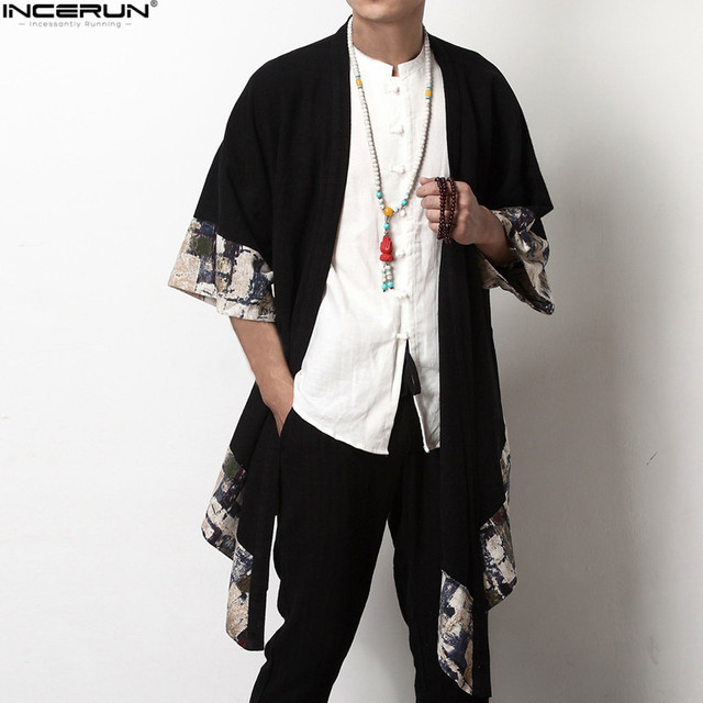 2018 Autumn New Men Long Outwear Shirts Chinese Vintage Male Cloak Coat Half Sleeve Irregular Loose Fashion Casual Trench S-5XL