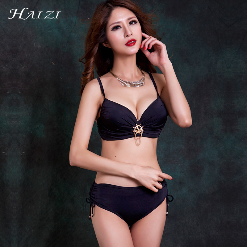 2017 Women Bikinis Set Big Breast & Cup Lace up Bikini Swimwear Super Large CDEF Bra Bathing suit Swimsuit