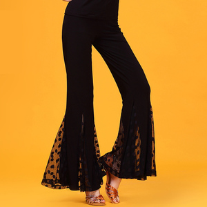 Image 2 - Nero Garza Moderne di formazione di danza Latino abbigliamento svasato pantaloni per donna/donne/signora, vogue costume prestazioni indossa KR0316