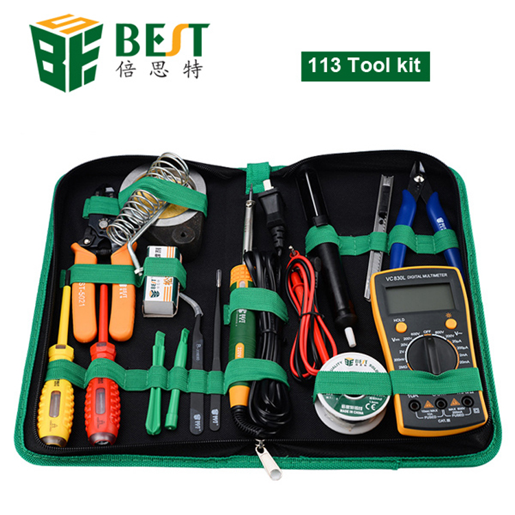 16 in 1 Household Profession Multi-purpose Repair Tool Set With Soldering Iron Digital M ...