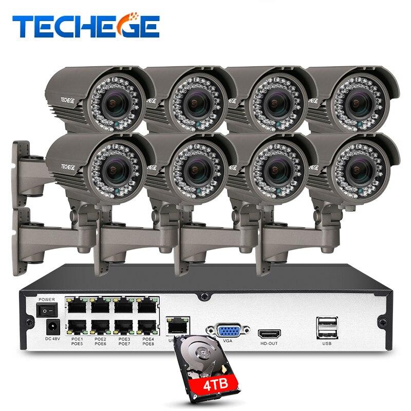 Techege H.265 8CH 5MP PoE NVR 8 pièces 2.8-12mm Manuel lentille 4.0MP Caméra IP POE Système P2P Nuage Système de vidéosurveillance Soutien PC Affichage Mobile