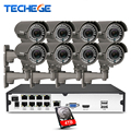 Techege H.265 8CH 5MP PoE NVR 8 piezas 2,8-12-12mm manual de lente 4.0MP cámara IP POE sistema P2P nube sistema cctv soporte de PC vista móvil