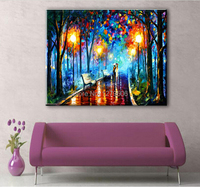 100% Handmade Modern Abstract Wall Art Knife Oil Painting on Canvas Home Decoration 1pc Late Night Walking