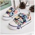 Sapatas dos miúdos das sapatilhas meninos meninas lona ocasional Floral modelos Primavera Planta flores Rosa Branco Azul 1-1288