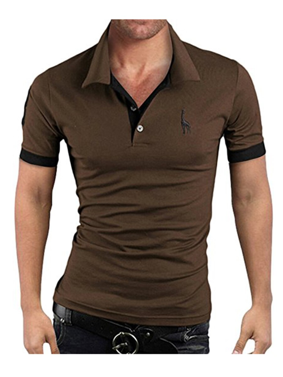 Men's Polo Multi-Color Deer High Quality Cotton Polo Shirt Men's Short Sleeve Slim Business Casual Solid Fit Tops 29