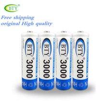 Transporte Rápido Melhor Bateria Recarregável AA 3000 4 X BTY Ni-mh 1.2 V Bateria Recarregável AA Baterias Recarregáveis Aa3000