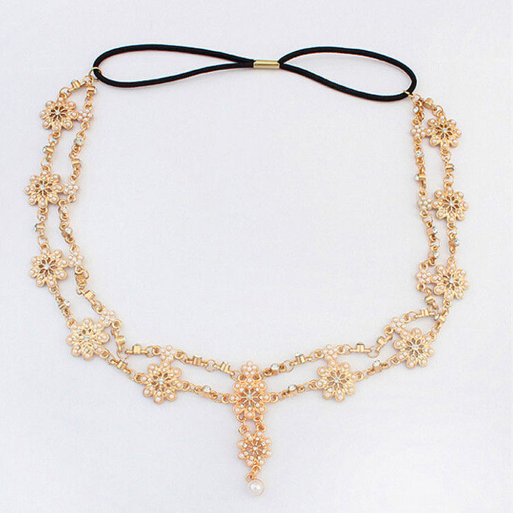 Imitation Pearl Flower Stretch Headband Hair  Wedding Acessories Crystal Bridal Hair Accessories Head Chain Hair Jewelry 2017