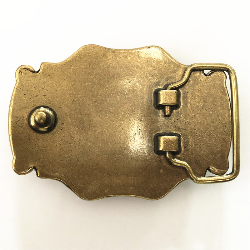 Pure Copper Shiny Vintage Antique Belt Buckle Brass & Jade Western Cowboy Mens Fashion Fine Accessory
