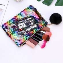 Hot Mermaid Cosmetic Bag Female Zipper Make Up Case Women Travel Large Capacity Beauty Makeup Bag Necessarie Organizer Wash Kit 3 pcs set travel cosmetic bag transparent pvc women zipper clear makeup beauty case make up organizer large capacity wash bag