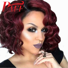 PAFF Ombre Red Short Wave Bob Hair Wig 250% High Density Lace Front Human Hair Wig Pre Plucked Remy Brazilian Side Part Hair women short culry wavy wig real human hair side bangs wave wig wine red