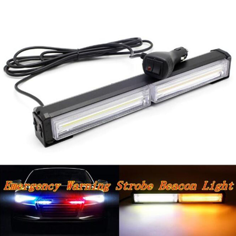 DC 12V Car LED Net Light COB Strobe Police Light Red Blue Yellow White Long Rod Light Car Warning Light