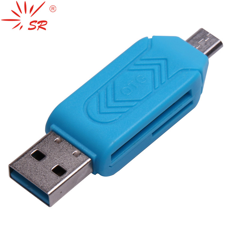 SR 2 In 1 Cellphone OTG Card Reader Adapter With Micro USB TF/SD Card Port Phone Extension Headers
