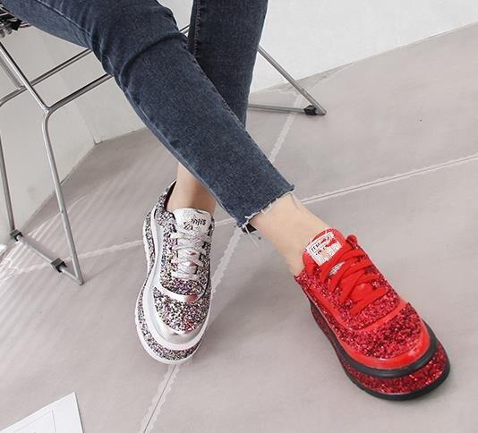 2019 mode chaussures femme diamant appartements chaussures décontractées femmes Slip Sneakers argent mocassins cristal cuir fille formateurs - 4