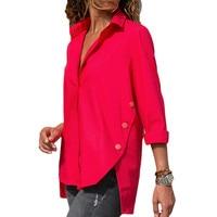 new women blouse office shirt summer autumn long sleeve white red blue work wear korean formal tops female clothing office lady