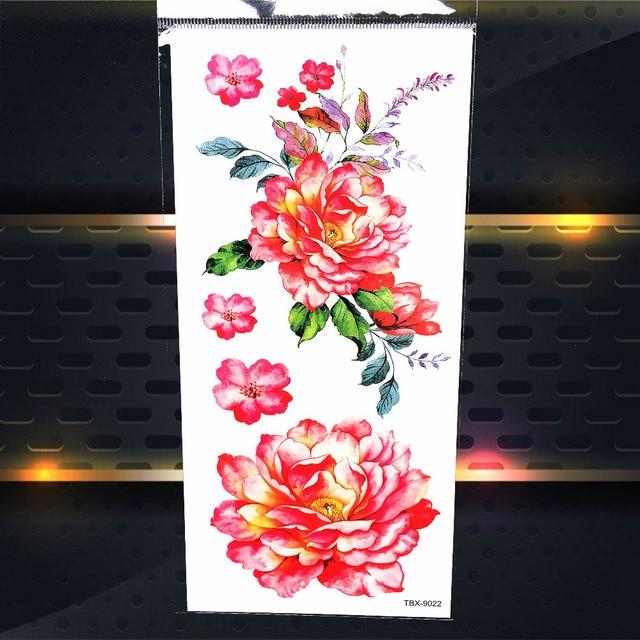 25 Style Rose Fleur Poeny Aquarelle Temporaire Tatouage Autocollants