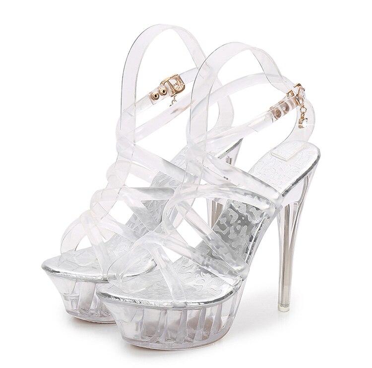 salto alto sandálias de pvc sexy sapato
