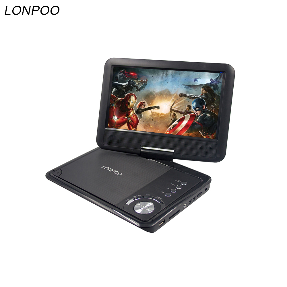 LONPOO Portable 9 inch DVD Player Swivel Screen Car charger USB SD Card Earphone TV FM