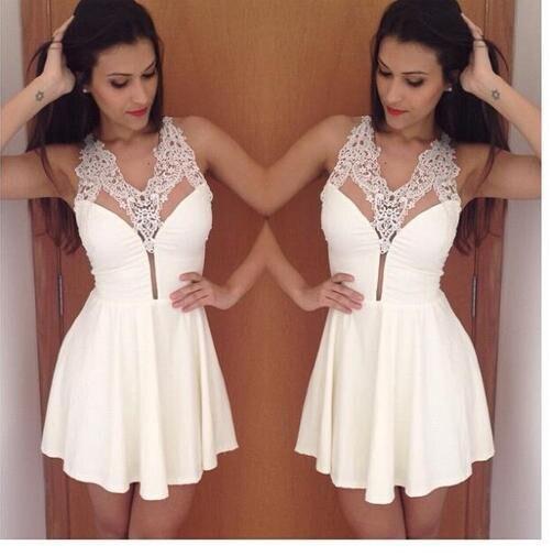 Lu-18 Sexy Sans Manches Blanc Applqiues Court Mini Robes De Bal 2015 Plus La Taille Pas Cher Homecoming Dress À Vendre