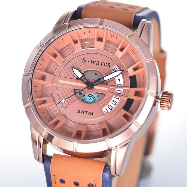 55aaceac73dfa SWAVES tout nouveau alliage montres hommes Date en cuir décontracté mode  montres à Quartz Sport horloge